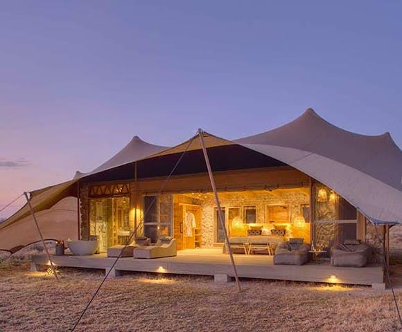 Private room at Namiri Plains, deep in the Serengeti