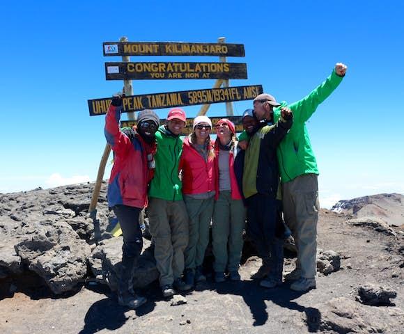 People on summit of Kilimanjaro, Tanzania
