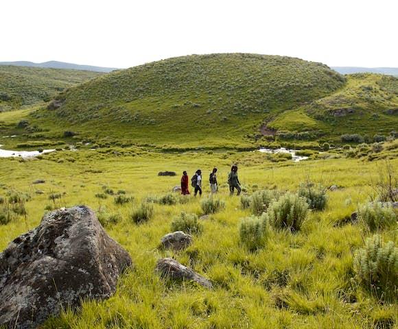 People hiking in Ngorongoro Conservation Area, Tanzania